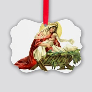 MARY AND JESUS IN THE MANGER Picture Ornament