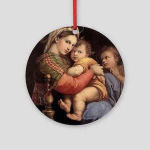 Madonna della seggiola - Raphael Round Ornament