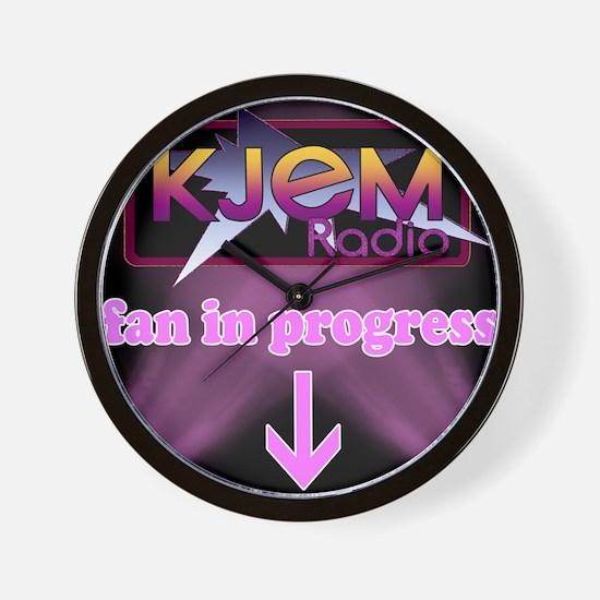KJEM Radio fan in progress pink Wall Clock