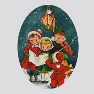 Vintage Christmas children Oval Ornament