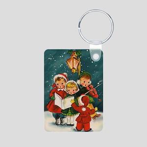 Vintage Christmas children Aluminum Photo Keychain