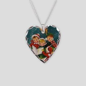 Vintage Christmas children Necklace Heart Charm