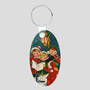 Vintage Christmas children Aluminum Oval Keychain