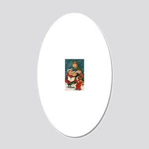 Vintage Christmas children 20x12 Oval Wall Decal
