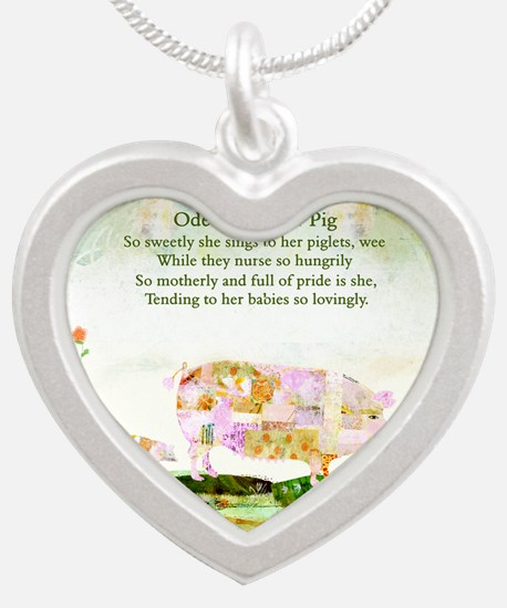 Ode to Mother Pig Silver Heart Necklace