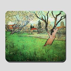 View of Arles with flowering tree Mousepad