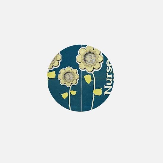 Nurse Practitioner Flower tote BLUE BR Mini Button