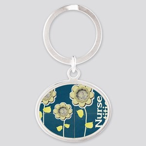 Nurse Practitioner Flower tote BLUE  Oval Keychain