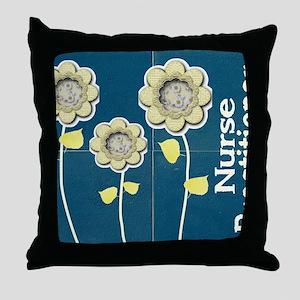 Nurse Practitioner Flower tote BLUE B Throw Pillow