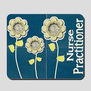 Nurse Practitioner Flower tote BLUE BRIC Mousepad