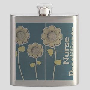 Nurse Practitioner Flower tote BLUE BRICK Flask