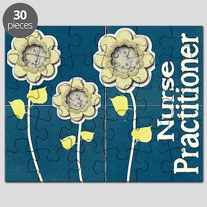 Nurse Practitioner Flower tote BLUE BRICK Puzzle