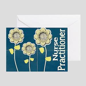 Nurse Practitioner Flower tote BLUE  Greeting Card