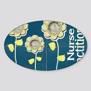 Nurse Practitioner Flower tote BLUE Sticker (Oval)