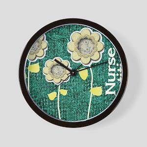 Nurse Practitioner Flowers Tote Green Wall Clock