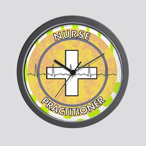 Nurse Practitioner lime and polka dots  Wall Clock