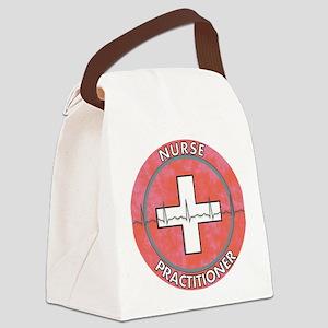 Nurse Practitioner ROUND RED GREY Canvas Lunch Bag