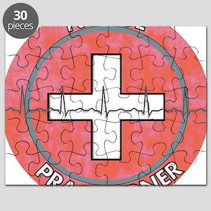 Nurse Practitioner ROUND RED GREY Puzzle