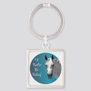 Id Rather Be Riding Horse Square Keychain