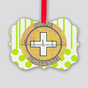 Nurse Practitioner lime and polka Picture Ornament