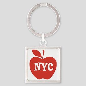 New York CIty Big Red Apple Square Keychain