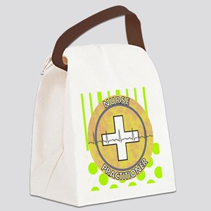 Nurse Practitioner lime and polka Canvas Lunch Bag