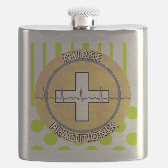 Nurse Practitioner lime and polka dots tote Flask