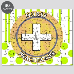 Nurse Practitioner lime and polka dots tote Puzzle