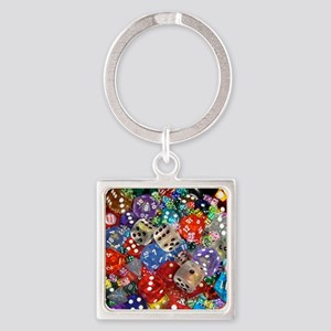 Lets Roll - Colourful Dice Square Keychain