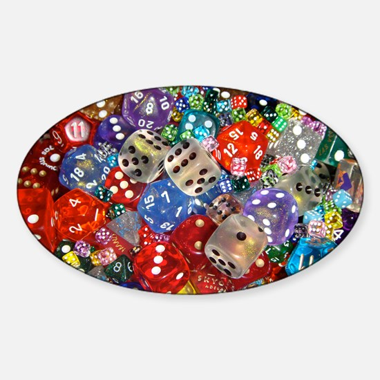 Lets Roll - Colourful Dice Sticker (Oval)