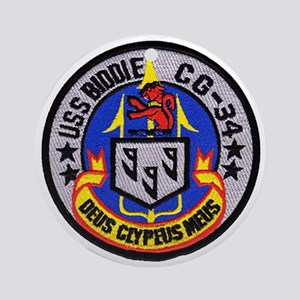 uss biddle cg patch transparent Round Ornament