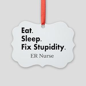 Eat sleep ER nurse Picture Ornament