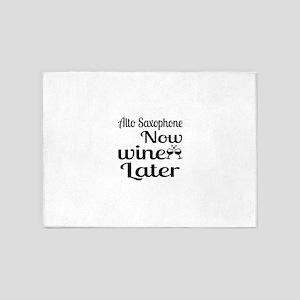 Alto Saxophone Now Wine Later 5'x7'Area Rug