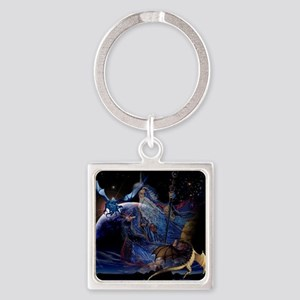 Dragons and  Wizzards Square Keychain
