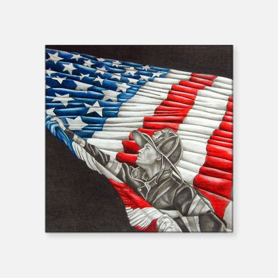 """Fireman with American Flag Square Sticker 3"""" x 3"""""""