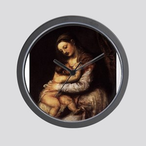 Madonna and child - Titian - c 1565 Wall Clock