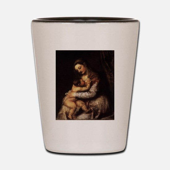 Madonna and child - Titian - c 1565 Shot Glass