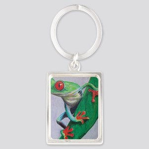 Red Eyed Tree Frog Portrait Keychain