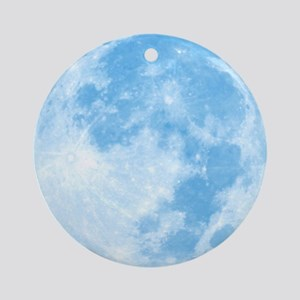 Blue Full Moon Round Ornament