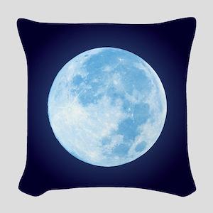 Blue Full Moon Woven Throw Pillow