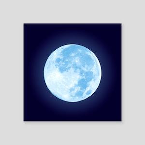 "Blue Full Moon Square Sticker 3"" x 3"""