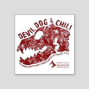 "Devil Dog Chili Logo maroon Square Sticker 3"" x 3"""