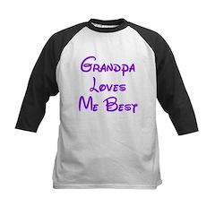 Grandpa Loves Me Best Purple Kids Baseball Jersey