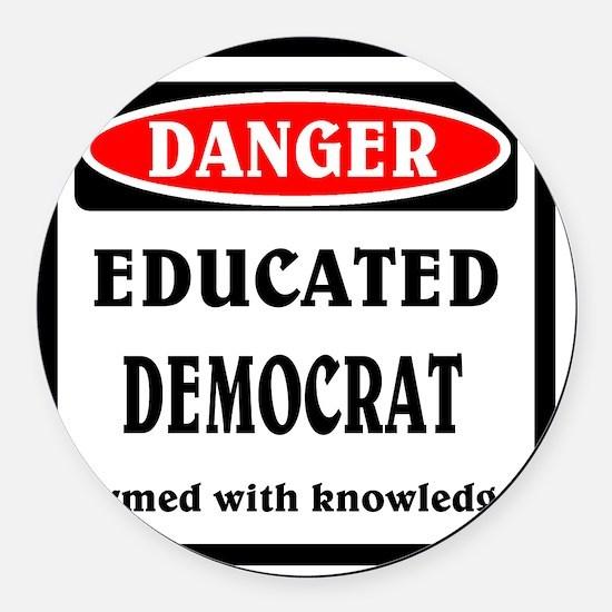 Educated Democrat Round Car Magnet