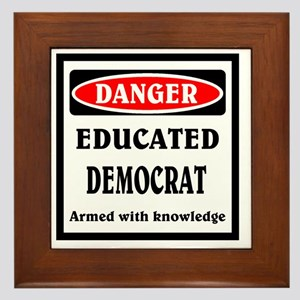 Educated Democrat Framed Tile