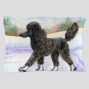 Black poodle takes to the ice Pillow Case