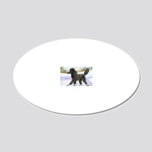Black poodle takes to the ic 20x12 Oval Wall Decal