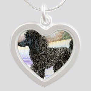 Black poodle takes to the ic Silver Heart Necklace