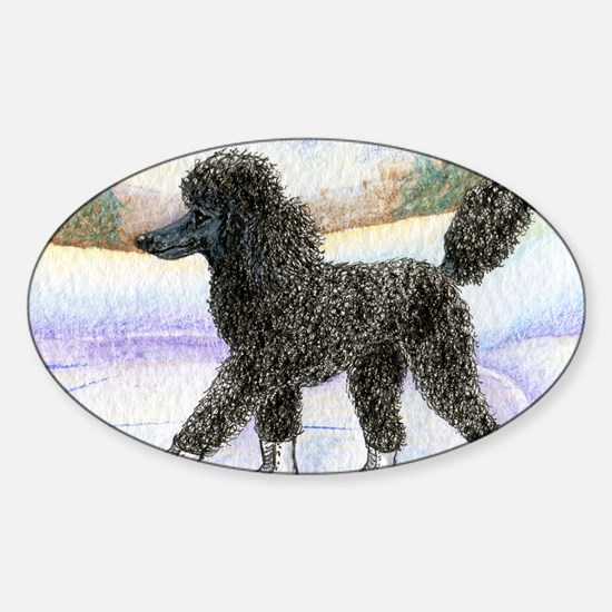 Black poodle takes to the ice Sticker (Oval)