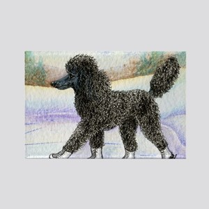 Black poodle takes to the ice Rectangle Magnet
